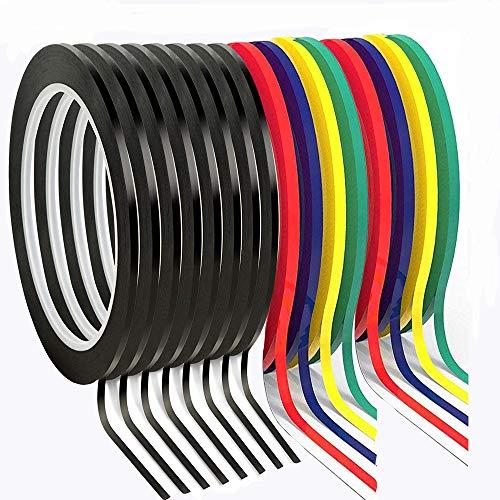 16pcs Whiteboard Graphic Chart Tape, 3mm trocken löschen Board Art Tapes, Markierungsband Linien, Gridding Grafikband, 66m Länge. (Gemischte Farben)