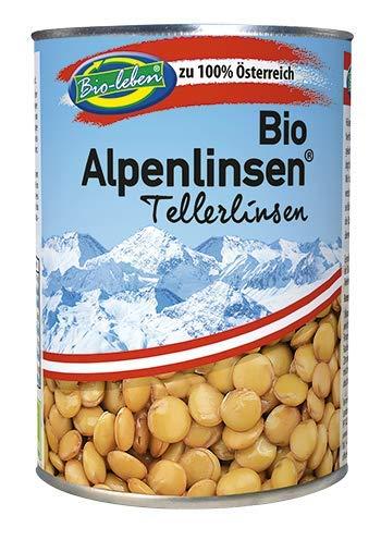 Bio grüne Tellerlinsen Dosen 100% aus Österreich 6x400g glutenfrei, ÖKO ganze österreichische grün-braune Linsen, typ Laird, extra Qualität 2,4kg