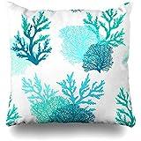 Asekngvo Throw Pillow Case Square Size 18'x18 Patrón Submarino Arrecife de Coral Azul Naturaleza Océano Tropical Acuario Acuático Diseño de di