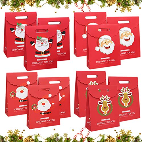 Sunshine smile Sacchetti Regalo in Carta Kraft,sacchettini Carta,Buste Regalo,Piccoli Natale scatole Regalo Natalizie,Borse Carta,Sacchetti Regalo Carta,Sacchetti Regalo Bambini Caramelle (B)