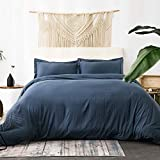 Bedsure Duvet Covers Queen Size with Zipper Closure, Ultra Soft Hypoallergenic Comforter Cover Sets 3 Pieces (1 Duvet Cover + 2 Pillow Shams), Navy, 90X90 inches