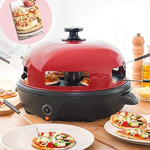 Cucina-Innova | Mini Pizzaofen | Pizza Raclette Grill 5 Personen | Edelstahl 700W | Rezeptbuch enthalten