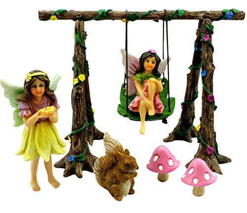 PRETMANNS Fairy Garden Accessories – Miniature Fairies & Fairy Swing Set with Squirrel & Mushrooms...