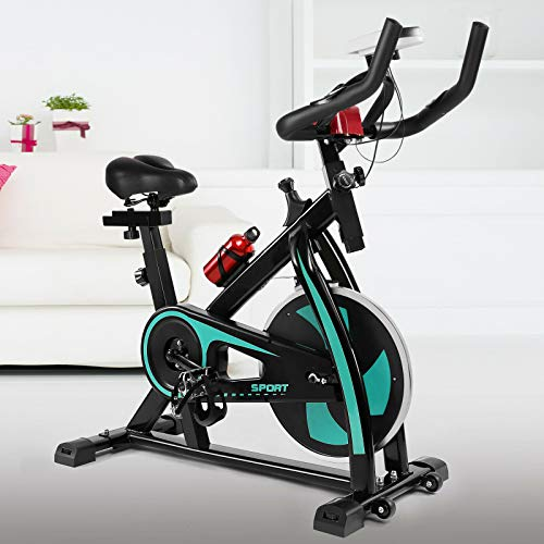 Green Exercise Bike Home Gym Cycling Cardio Fitness Bicycle with Phone Holder/LCD Display/Heart Rate Monitor Belt Drive Flywheel Spin for Home Training Cardio Workout Training Stationary Indoor