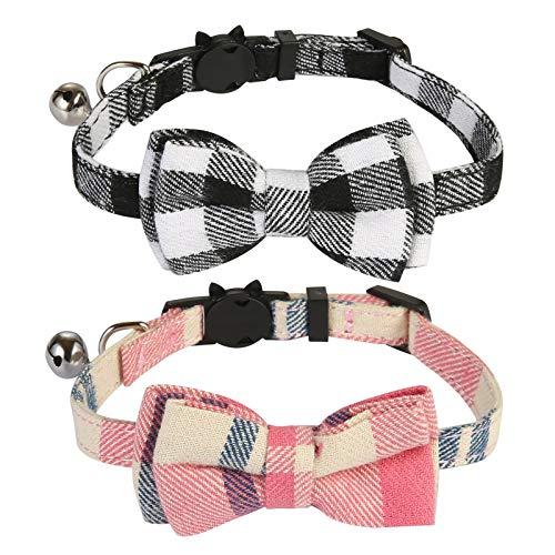 SLSON Collari per Gatti Papillon 2 Pezzi, Regolabili da 20 a 28 cm con Campana e Fibbia di Sicurezza, Collari Anti Strangolamento per Cucciolo di Gatto Gattino (Nero bianco e Rosa)