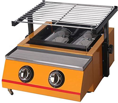 Commerciale 8 fuochi Barbecue a Gas Griglie a Gas GPL Piastra per Barbecue Macchina per Barbecue Acciaio Inossidabile Strumenti per Barbecue all'aperto Grande griglia (Schermo in Vetro)
