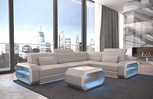 Sofa Dreams hoekbank lederen bank Verona met LED-verlichting en kleurkeuze
