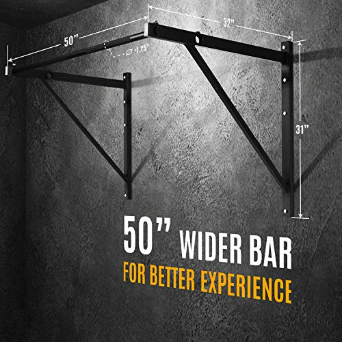 Product Image 5: Yes4All Heavy Duty Wall Mounted Pull Up Bar for Crossfit Training – Chin Up Bar/Pull Up Bar Wall Mount – Support up to 500 lbs (Black)