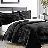Boryard 3-Piece King Quilt Set, Velvet Lightweight Soft Velvet Bedspread Coverlet (104x90 inches) with 2 Pillow Shams (20x36 inches), Black
