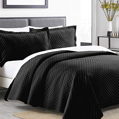 Boryard 3-Piece King Quilt Set, Flannelette Lightweight Soft Velvet Bedspread Coverlet (104x90 inches) with 2 Pillow Shams (20x36 inches) for All Season, Black