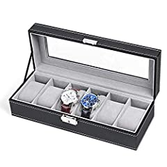 Unique Design: Made of premium quality waterproof artificial leather, MDF and velvet. This mens watch organizer is exquisite, gorgeous and attractive. And it is easy to clean. You just need to wipe the display case organizer with cloth Overall Dimens...