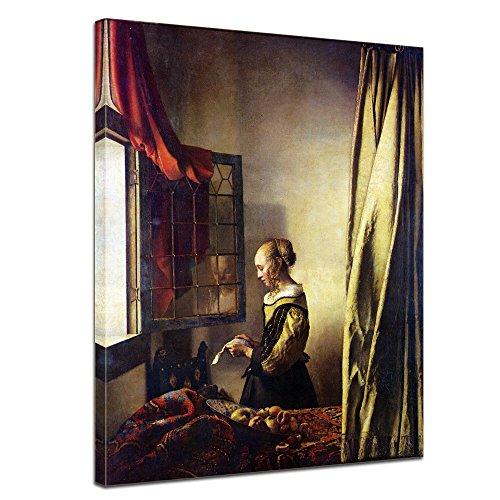 Wandbild Jan Vermeer Briefleserin am offenen Fenster - 30x40cm hochkant - Alte Meister Berühmte Gemälde Leinwandbild Kunstdruck Bild auf Leinwand