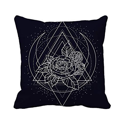 N\A Throw Pillow Cover Rose Flower Sacred Geometry Tattoo Mystic Symbol Boho Zen Funda de Almohada Funda de Almohada Cuadrada Decorativa para el hogar Funda de cojín