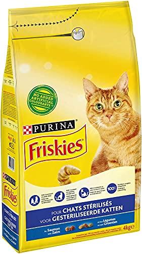 Purina Friskies Chat pour Chats Stérilisés au Saumon et aux Légumes, 4 x 4kg