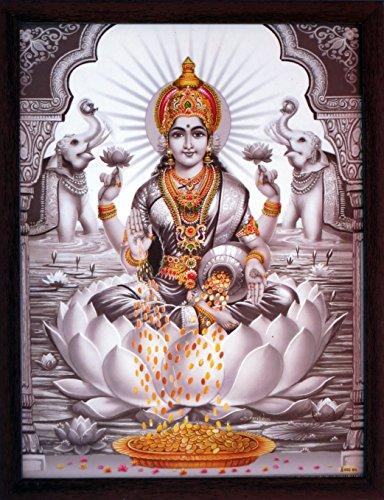 HandicraftStore Indische Religiöse Göttin Maa Laxmi sitzend in Blume von Lotus, trägt Schöne Ornament und Duschen Geld, Muss für Verehrung Zweck.