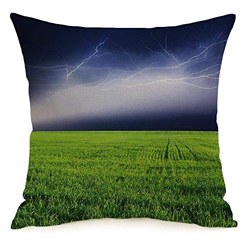Lino decorativo Cuadrado Throw Pillow Cover Case Tormenta eléctrica Rayo Electricidad Cielo Temporada Nube verde Pradera rural Parques naturales Peligro al aire libre Funda de almohada Cojín Funda de