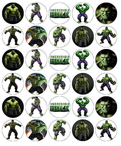 30 obleas comestibles para cupcakes de Hulk Avengers Marvel
