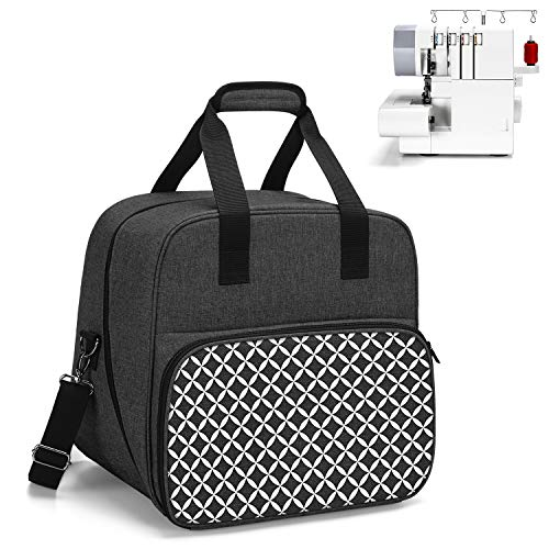 Yarwo Overlocker Bag with Bottom Wooden Board, Universal Overlock Sewing Machine Case Fit for Most Standard Overlocker and Accessories, Black with Oval Pattern