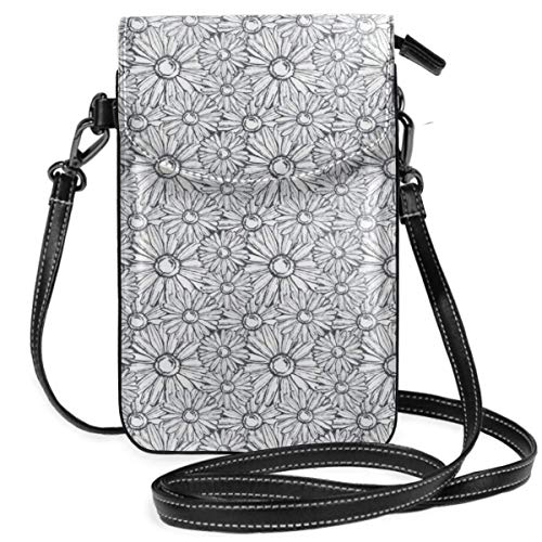 Women Small Cell Phone Purse Crossbody,Repetitive Outline Grunge Style Sketch Drawn Pattern Of Lovely Chamomiles