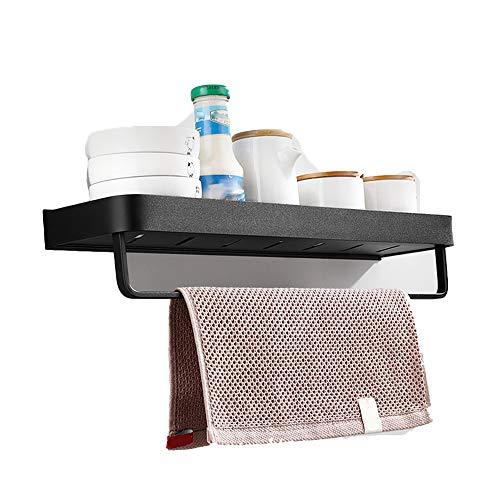 MAGO-Kosmetikspiegel Zwevende plank Wandplank Keuken Spice Rack met Handdoek Bar voor Opslag Badkamer Planken Wandmontage