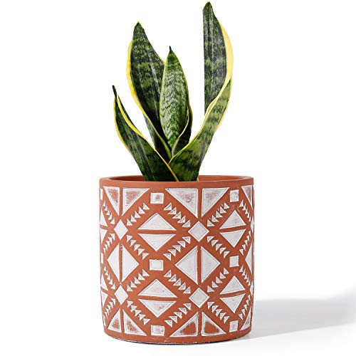 POTEY Cement Planter Flower Pot - 4.8 Inches Vintage Indoor Plants Containers Unglazed Medium Bonsai Concrete with Drain Hole - Terracotta, Geometry Embossment