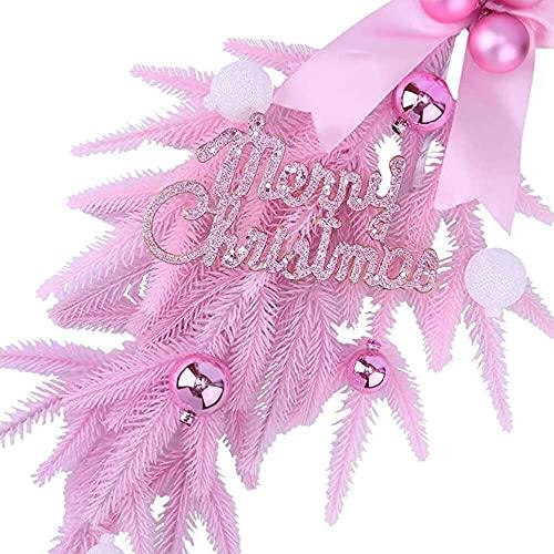 YuKeShop Corona de lágrima de Navidad con bola de Navidad, adorno de lazo para decoración de la puerta de la pared, color rosa