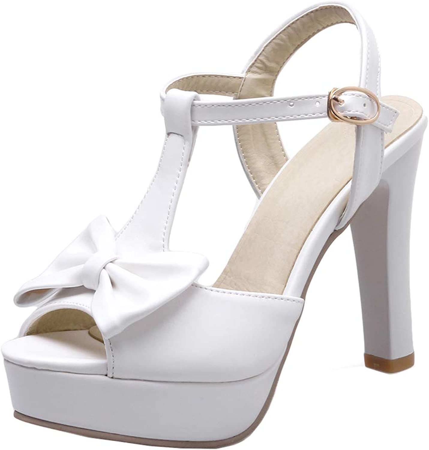 XDLEX Women's Lolita Cosplay Bowknot Sandals T Strap Platform Pumps Ankle Wrap-Around Strap Vintage Mary Janes Cute Buckle Strap Peep Toe Chunky Block Heel