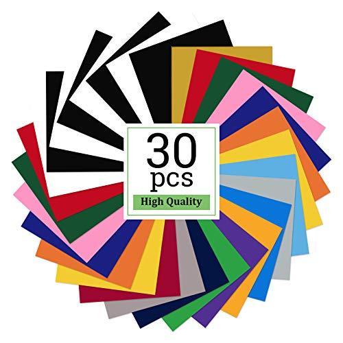 Plotterfolie Textil, 30 Stück Heat Transfer Vinyl, Flexfolie Plotter Textil, Druckmaschine für Kleidung Bügelfolie für Textilien Transferfolie zum Aufbügeln für DIY T-Shirt, Stoffe (18 Farben)