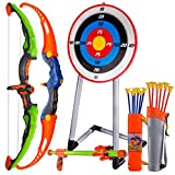 CAPTAIN CHAOWING Bow and Arrow for Kids, Archery Toy Set, 2 Bows & 1 Blowing Bow & 12 Arrows & 5 Quivers & Standing Target, Outdoor Toys for Children Boys Girls