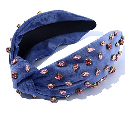 Women Knotted Pink Jeweled Headband Embellished Top Hairband ladies Twist Bohemian Hair accessories for Girls