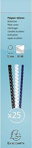 Exacompta 76401E - Une Boite 25 Reliures Spirales Plastique 29, 7x1, 2 cm (Capacité 65 à 90 Feuilles), Noir