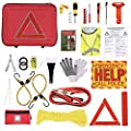Thrive Roadside Assistance Auto Emergency Kit + First Aid Kit ? Case - Contains Jumper Cables, Tools, Reflective Safety Triangle and More. Ideal Winter Accessory for Your car, Truck, Camper from Thrive