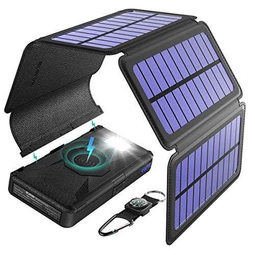 LIUDOU Cargador Solar, Banco De Energía Solar Plegable 20000Mah Banco De Energía Solar Extraíble Al Aire Libre para Portátil/iOS Y Cargo por Teléfono Android