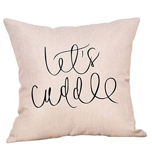 AKAIDE Kissenbezug einfache Mode Baumwolle Leinen Briefdruck Überwurf Kissenbezug Cafe Sofa Kissenbezug Home Decor, Flax, F, 45 cm*45 cm
