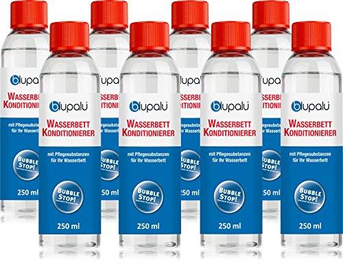 blupalu | Wasserbett Conditioner I 8 x 250 ml Conditionierer | jetzt mit 9g/100g Wirkstoff Poly(Dimethylamine-Co-Epichlorohydrin) | Konditionierer für Wasserbetten I Wasserbett-Zubehör mit Bubble Stop