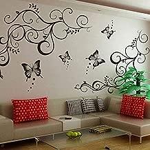 Decals Design 'Lovely Butterflies' Wall Sticker (PVC Vinyl, 90 cm x 30 cm, Black)