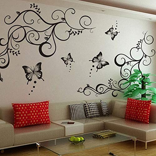 Decals Design 'Lovely Butterflies' Wall Sticker (PVC Vinyl, 90 cm x 30 cm, Black)