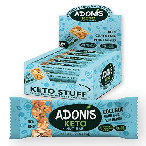 Adonis Keto Riegel | Kokosnuss & Vanille Snack Bars | 100% Natürliche Snacks, Low Carb, Vegan, Glutenfrei, Low Sugar, Paleo Bar - 16er Box
