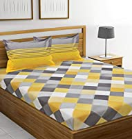 HUESLAND by Ahmedabad Cotton 144TC Cotton Bedsheet with Pillow Cover