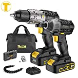 Taladro Atornillador, TECCPO Professional 60Nm Taladro Bateria, 180Nm Atornillador a Bateria, 2...