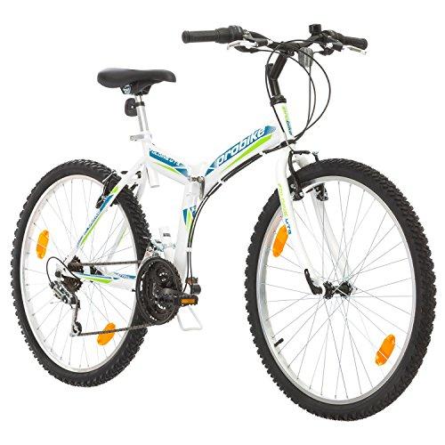 Multibrand, PROBIKE Folding MTB 26, 26 Pollici, 457mm, Mountain Bike Pieghevole, 18 velocità, Full Suspension, Unisex, Grigio Verde, 26 inch