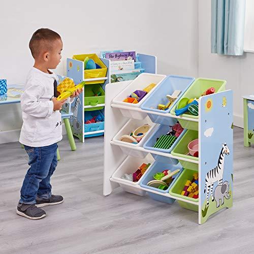 Liberty House Toys–Estantería de Almacenamiento de Safari con Nueve plástico Cubos, Madera, Multicolor