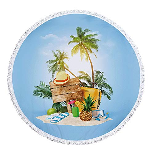 JTRHD Toalla de Playa Sin Arena Estilo De Vacaciones Impresión De Microfibra Suave Ronda Circulares Tiro Manta De La Playa Tapiz Mantel De Yoga Mat Viajes De Toallas De Piscina Viaje Vacaciones Nadar