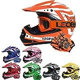 Leopard LEO-X17 Casques Motocross & Gants d'enfants & Lunettes pour Enfants - Orange M (51-52cm) - Casque de Moto de Bicyclette ATV ECE 22-05 Approbation