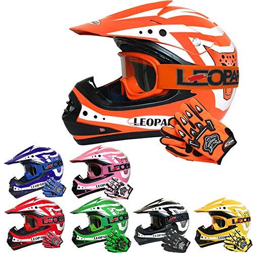 Leopard LEO-X17 Kinder Motocross MX Helm { Motorradhelm + Handschuhe + Brille} Orange L (53-54cm) ECE Genehmigt Crosshelm Kinderquad Off Road Enduro Sport