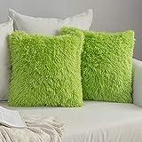 MIULEE 2er Set Soft Künstlich Pelz Throw Kissenbezüge Set Dekorative Dekokissen Kissen Fall für Sofa Schlafzimmer 16x16inch 40x40 cm Grün