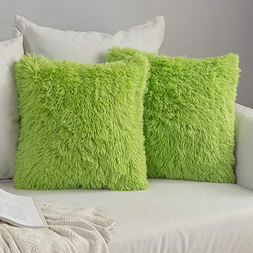 MIULEE Faux Fur Cushion Covers Fluffy Throw Pillow Case Soft Decorative Square Cute Pillow Plush Case For Livingroom Sofa Bedroom 18 x 18 Inch 45 x 45 cm Green Pack of 2