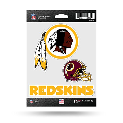 NFL Rico Industries  Die Cut 3-Piece Triple Spirit Sticker Sheet, Washington Redskins