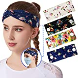 USBNOVEL Women Headbands with Buttons Boho Headbands Headwraps Elastic Hair Band Bows Accessories (4 Pack)