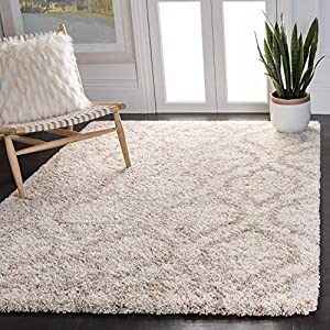 Safavieh Hudson Shag Collection SGH284E Moroccan 2-inch Thick Area Rug, 8′ x 10′, Multi Ivory / Beige